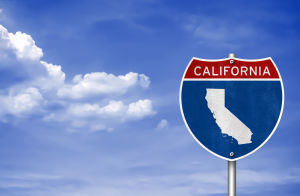 This is a picture of the sky with a California sign.
