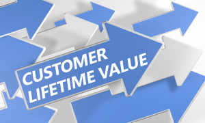 Customer Lifetime Value 3d render concept with blue and white arrows flying over a white background.