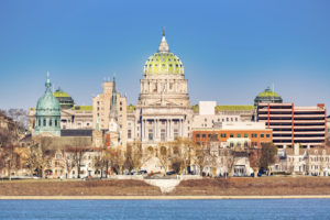 Harrisburg capitol building viewed from across Susquehanna river. Harrisburg is the state capital of Pennsylvania