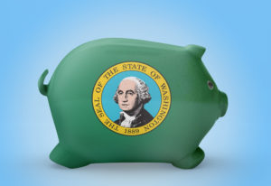 Side view of a piggy bank with the flag design of Washington.