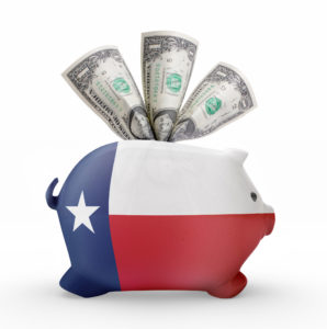 Side view of a piggy bank with the flag design of Texas.