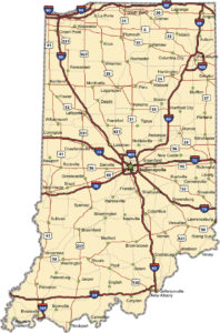 Highway map of the state of Indiana with Interstates and US Routes.  It also has lines for state and county routes (but not labeled) and many cities  on it as well.  All cities are the County Seats and the Capitol (and some others).
