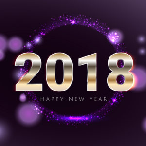Happy new 2018 year shiny glowing purple and gold greeting card.