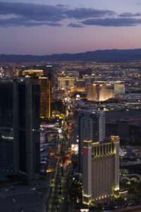 Las Vegas, NV, USA - August 12, 2015: View of Las Vegas from Stratosphere Tower at night on August 12, 2015. Las Vegas is one of the top tourist destinations in the world.
