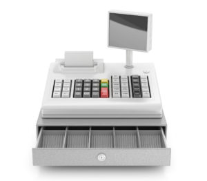 A machine used in places of business for regulating money transactions with customers