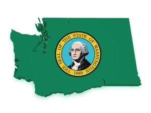 Washington map with flag isolated on white background.
